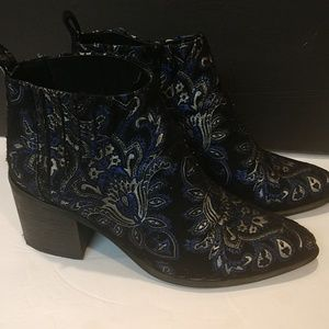 Jeffrey Campbell Black Embroidered Booties